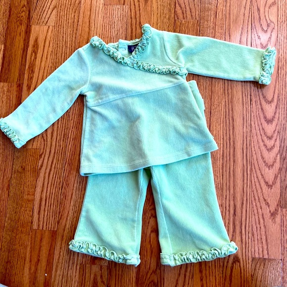 Baby Girl 12 Month Green Velour Matching Outfit
